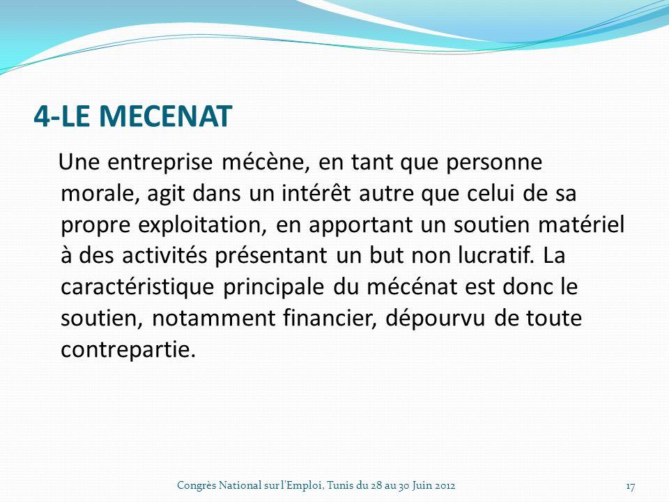 4-LE MECENAT Une entreprise mécène, en tant que personne morale, agit dans un intérêt autre que celui de sa propre exploitation, en apportant un soutien matériel à des activités présentant un but non lucratif.