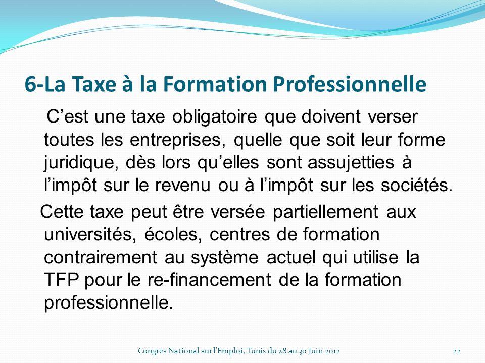 6-La Taxe à la Formation Professionnelle Cest une taxe obligatoire que doivent verser toutes les entreprises, quelle que soit leur forme juridique, dès lors quelles sont assujetties à limpôt sur le revenu ou à limpôt sur les sociétés.
