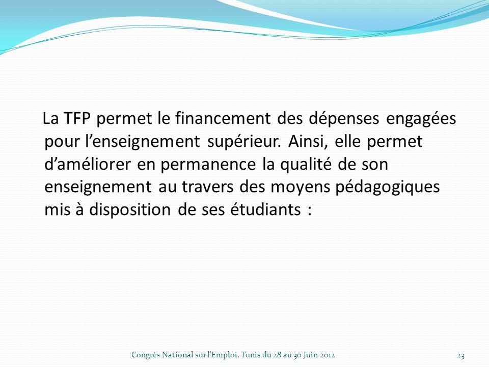 La TFP permet le financement des dépenses engagées pour lenseignement supérieur.