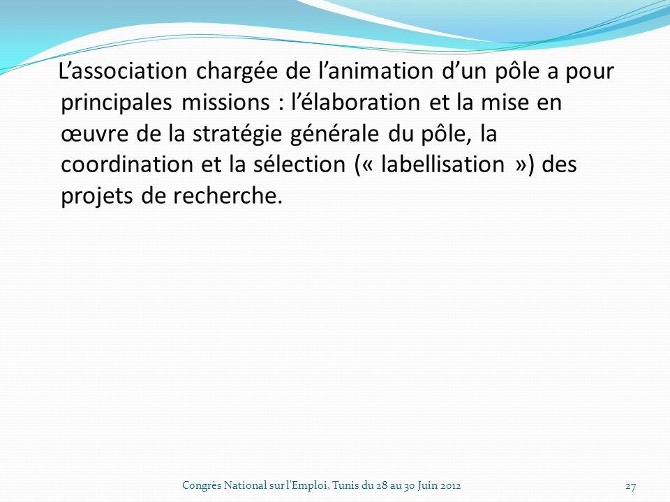 Lassociation chargée de lanimation dun pôle a pour principales missions : lélaboration et la mise en œuvre de la stratégie générale du pôle, la coordination et la sélection (« labellisation ») des projets de recherche.