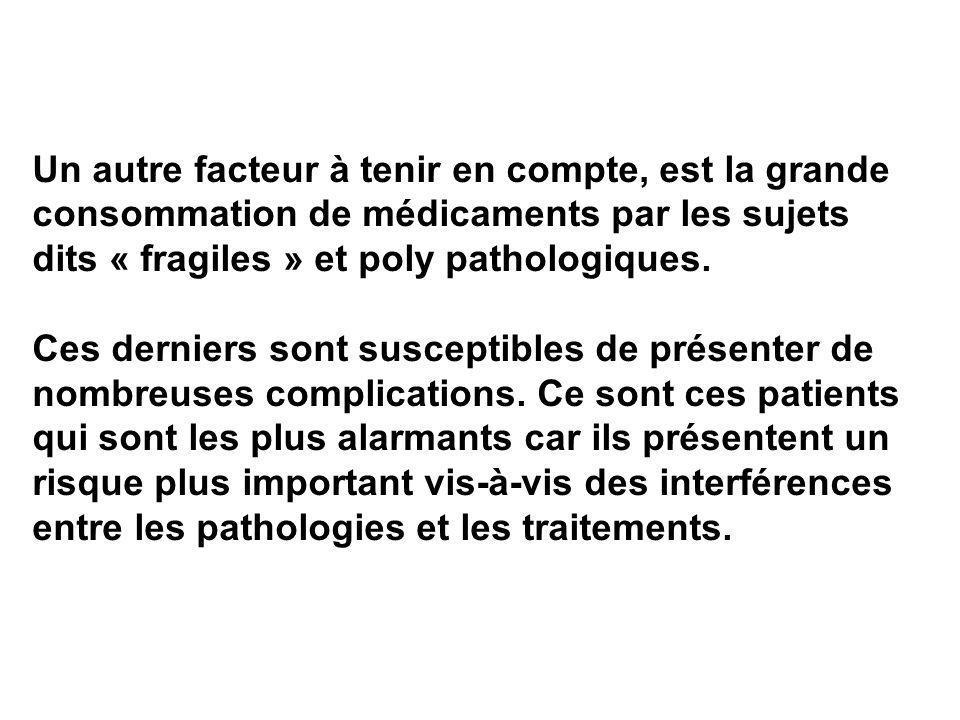 Un autre facteur à tenir en compte, est la grande consommation de médicaments par les sujets dits « fragiles » et poly pathologiques.