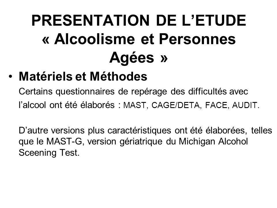 PRESENTATION DE LETUDE « Alcoolisme et Personnes Agées » Matériels et Méthodes Certains questionnaires de repérage des difficultés avec lalcool ont ét