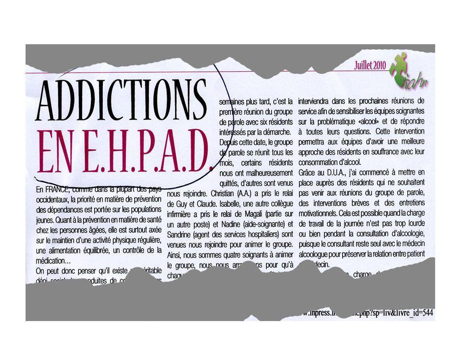 Sujet ayant un problème avec lalcool traité Avec des psychotropes et vivant seul Des 239 personnes concernées, 10 personnes âgées, soit 9 Hommes et 1 Femme, constituent des éléments à risque majeur.