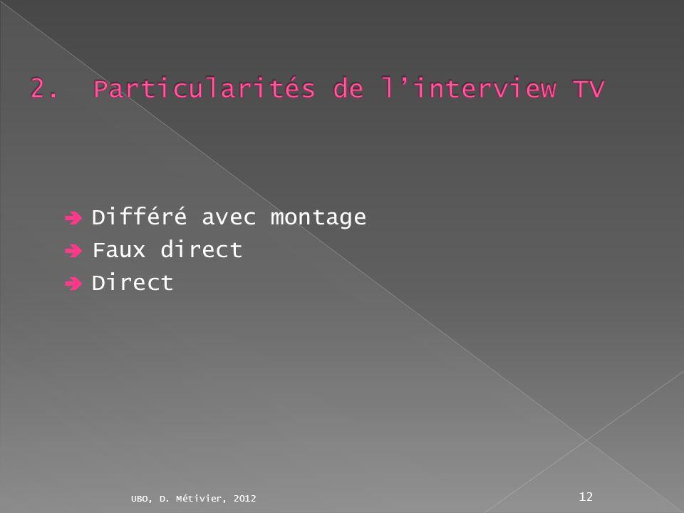 Différé avec montage Faux direct Direct UBO, D. Métivier, 2012 12