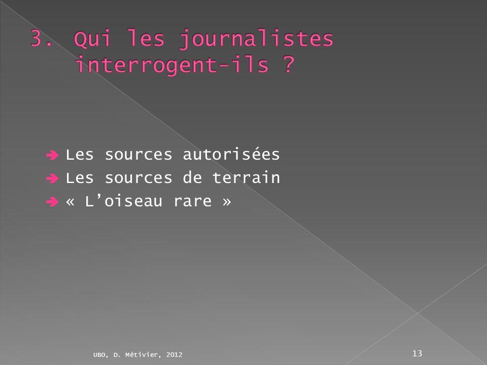 Les sources autorisées Les sources de terrain « Loiseau rare » UBO, D. Métivier, 2012 13