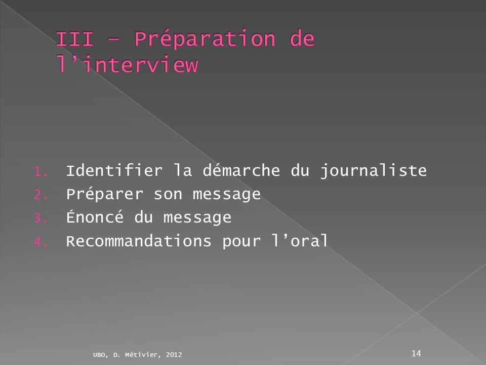1. Identifier la démarche du journaliste 2. Préparer son message 3. Énoncé du message 4. Recommandations pour loral UBO, D. Métivier, 2012 14