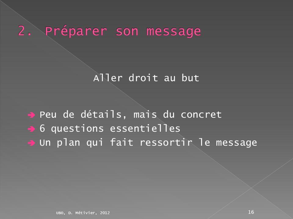 Peu de détails, mais du concret 6 questions essentielles Un plan qui fait ressortir le message UBO, D. Métivier, 2012 16 Aller droit au but