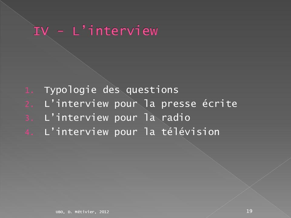 1. Typologie des questions 2. Linterview pour la presse écrite 3. Linterview pour la radio 4. Linterview pour la télévision UBO, D. Métivier, 2012 19