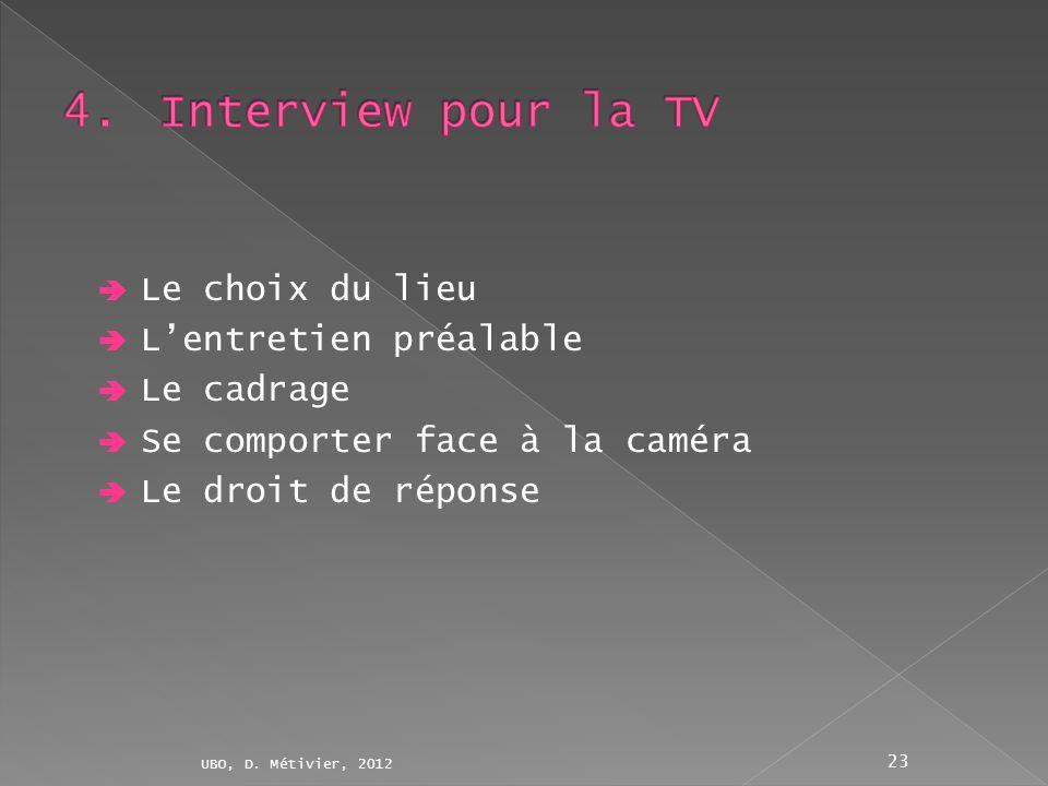 Le choix du lieu Lentretien préalable Le cadrage Se comporter face à la caméra Le droit de réponse UBO, D. Métivier, 2012 23