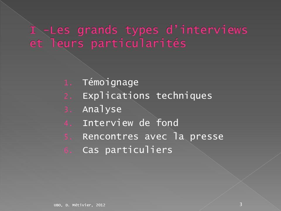 1. Témoignage 2. Explications techniques 3. Analyse 4. Interview de fond 5. Rencontres avec la presse 6. Cas particuliers UBO, D. Métivier, 2012 3