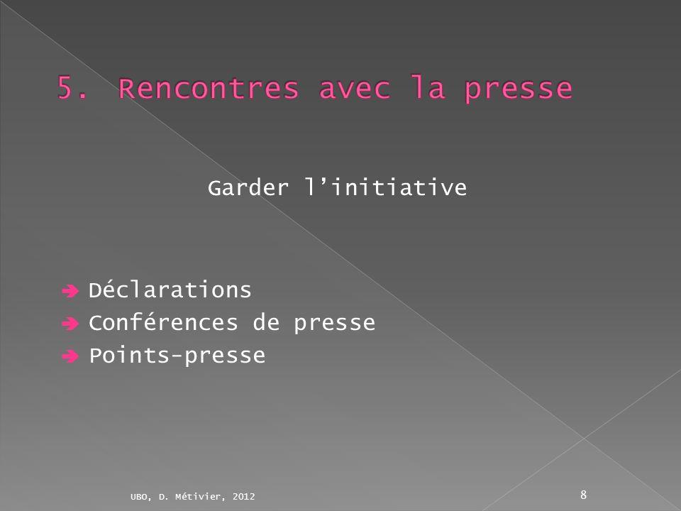 Déclarations Conférences de presse Points-presse UBO, D. Métivier, 2012 8 Garder linitiative