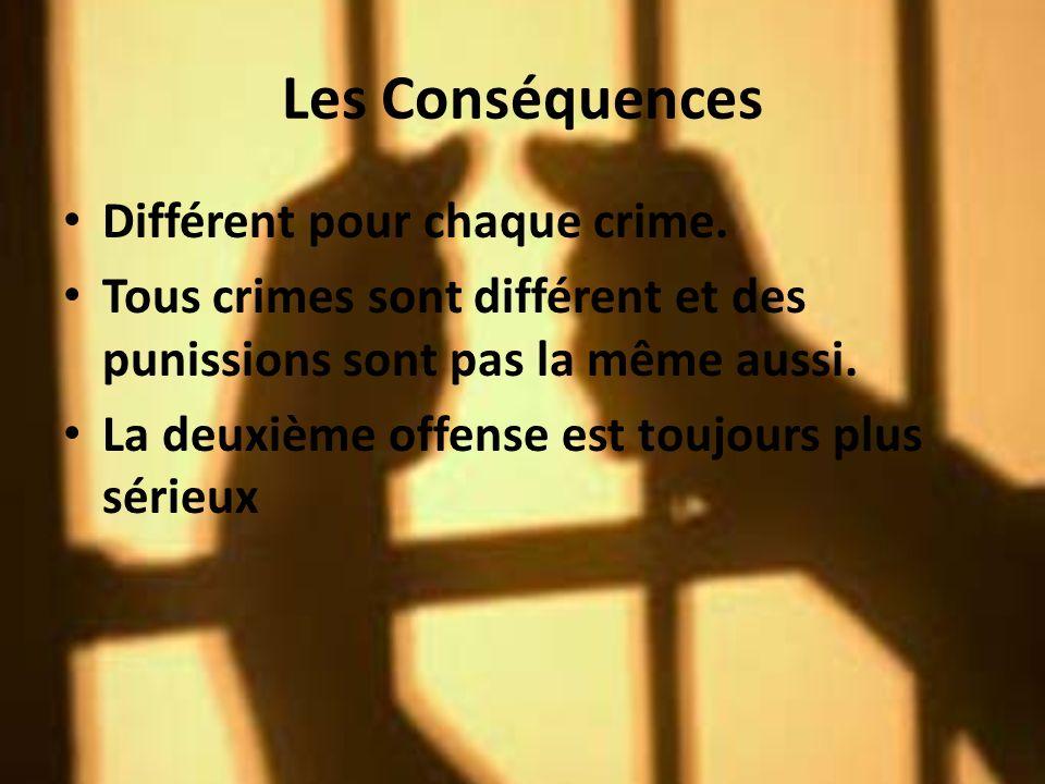 Les Conséquences Différent pour chaque crime.