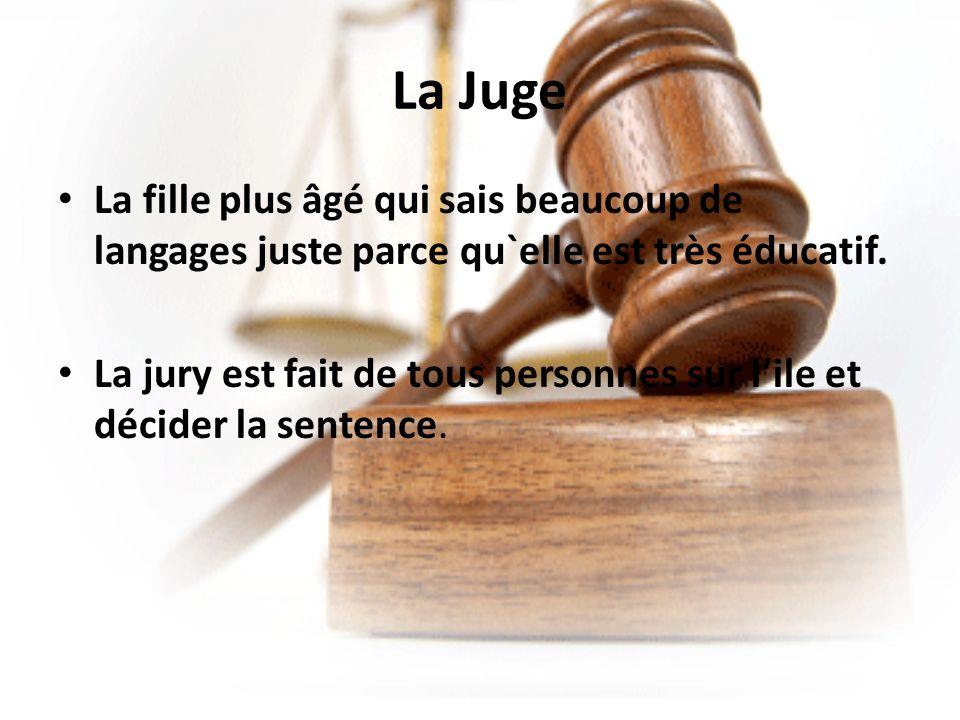 La Juge La fille plus âgé qui sais beaucoup de langages juste parce qu`elle est très éducatif.