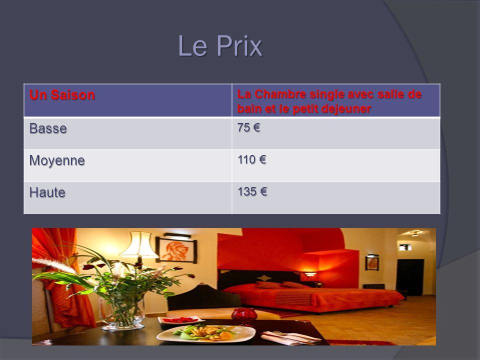 Le Prix Un Saison La Chambre single avec salle de bain et le petit dejeuner Basse 75 75 Moyenne 110 110 Haute 135 135