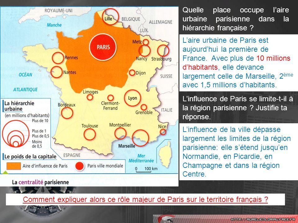Quels éléments de cette carte renforcent le poids de Paris à léchelle nationale mais aussi à léchelle européenne .