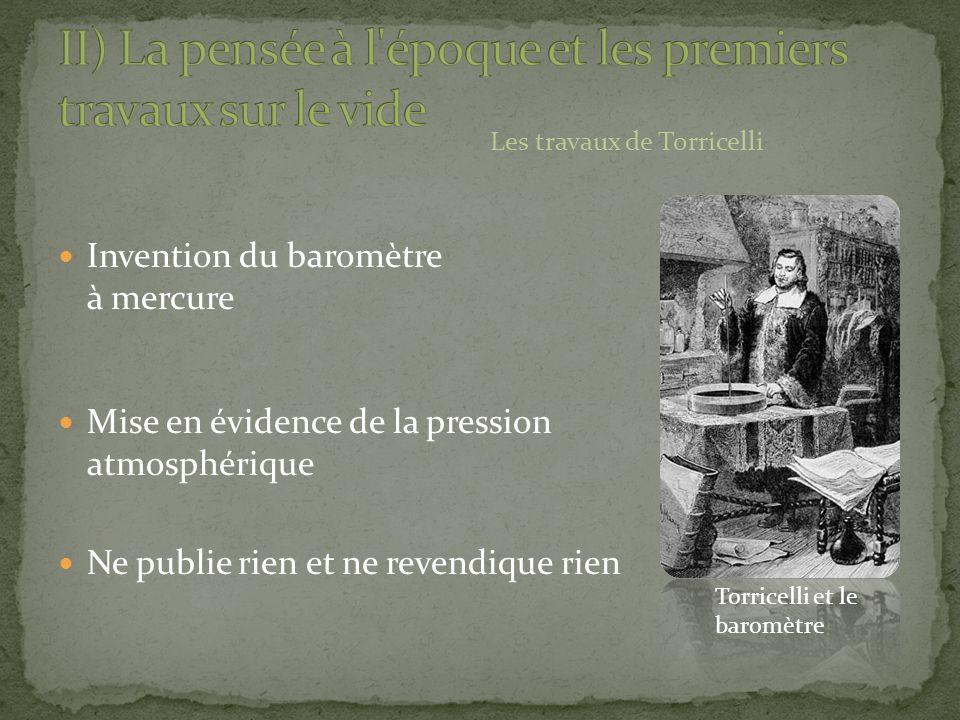 Invention du baromètre à mercure Mise en évidence de la pression atmosphérique Ne publie rien et ne revendique rien Les travaux de Torricelli Torricel