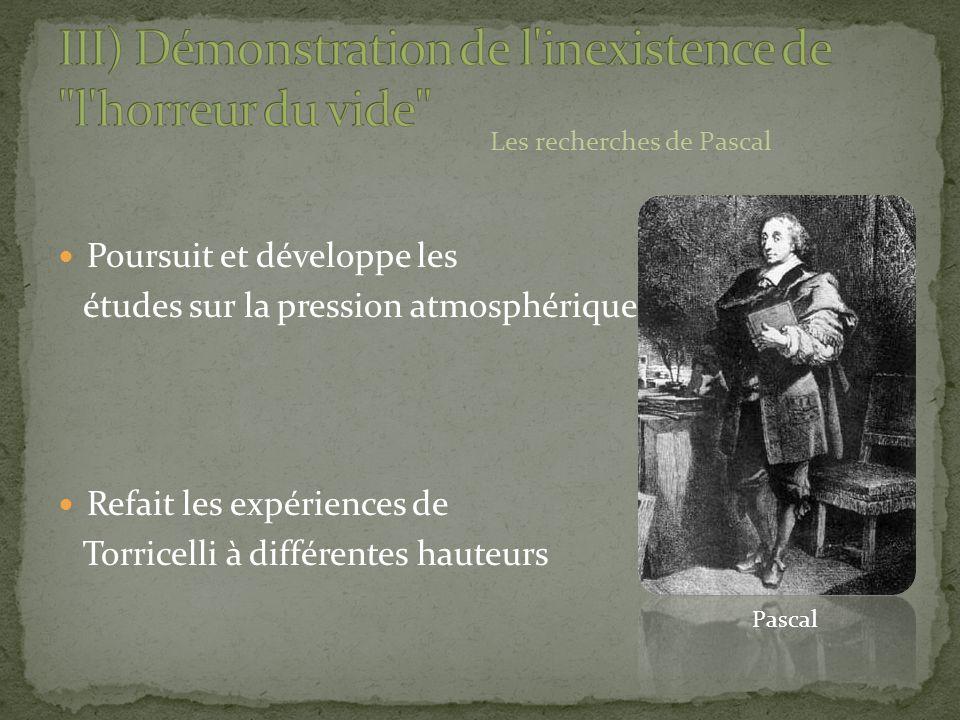 Poursuit et développe les études sur la pression atmosphérique Refait les expériences de Torricelli à différentes hauteurs Les recherches de Pascal Pa