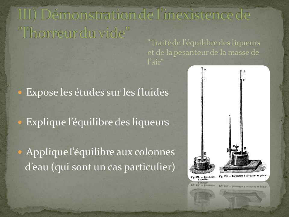Expose les études sur les fluides Explique léquilibre des liqueurs Applique léquilibre aux colonnes deau (qui sont un cas particulier)