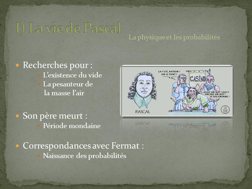 Recherches pour : Lexistence du vide La pesanteur de la masse lair Son père meurt : Période mondaine Correspondances avec Fermat : Naissance des proba