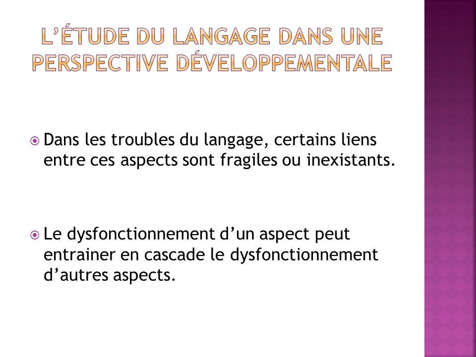 Dans les troubles du langage, certains liens entre ces aspects sont fragiles ou inexistants. Le dysfonctionnement dun aspect peut entrainer en cascade