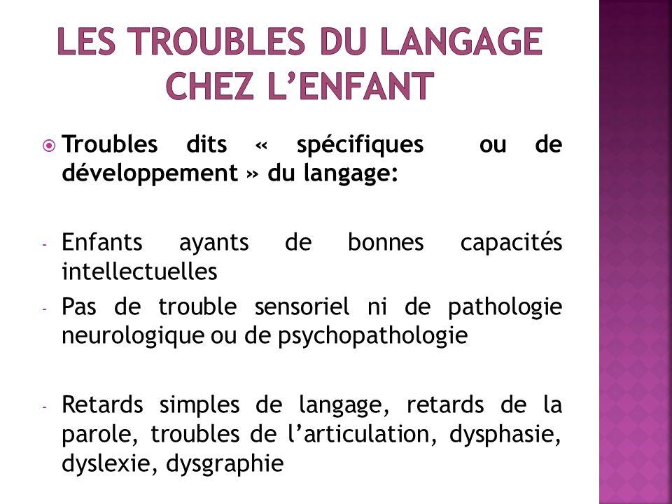 Troubles dits « spécifiques ou de développement » du langage: - Enfants ayants de bonnes capacités intellectuelles - Pas de trouble sensoriel ni de pa