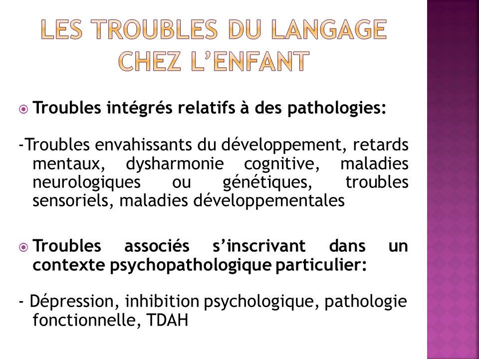 Troubles intégrés relatifs à des pathologies: -Troubles envahissants du développement, retards mentaux, dysharmonie cognitive, maladies neurologiques