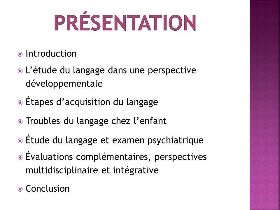 Introduction Létude du langage dans une perspective développementale Étapes dacquisition du langage Troubles du langage chez lenfant Étude du langage