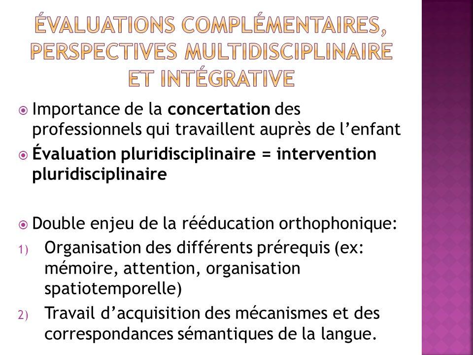 Importance de la concertation des professionnels qui travaillent auprès de lenfant Évaluation pluridisciplinaire = intervention pluridisciplinaire Dou