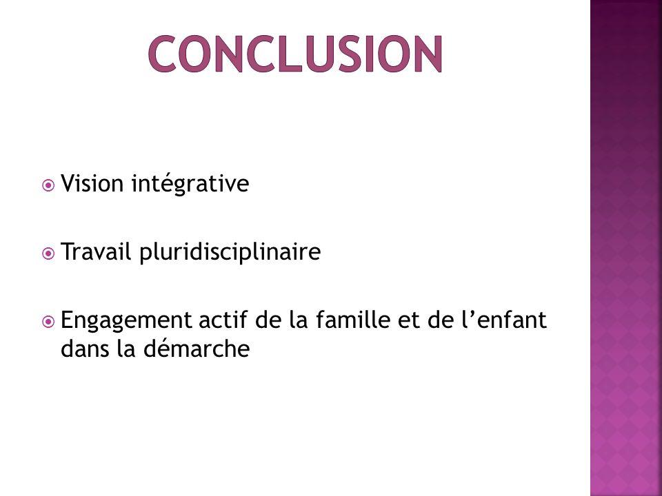 Vision intégrative Travail pluridisciplinaire Engagement actif de la famille et de lenfant dans la démarche