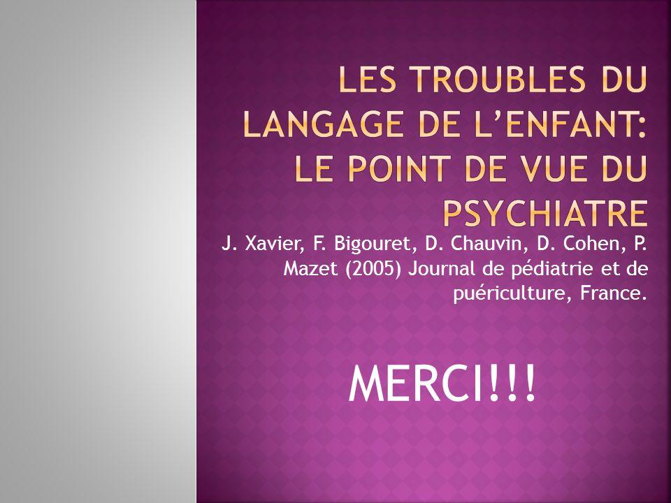 MERCI!!! J. Xavier, F. Bigouret, D. Chauvin, D. Cohen, P. Mazet (2005) Journal de pédiatrie et de puériculture, France.