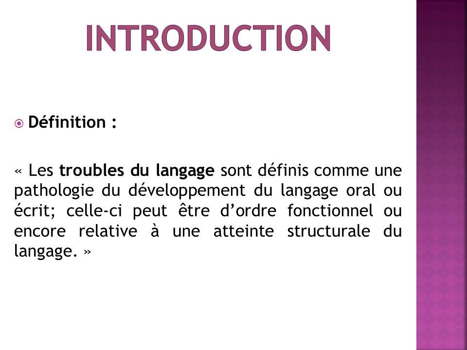 Définition : « Les troubles du langage sont définis comme une pathologie du développement du langage oral ou écrit; celle-ci peut être dordre fonction