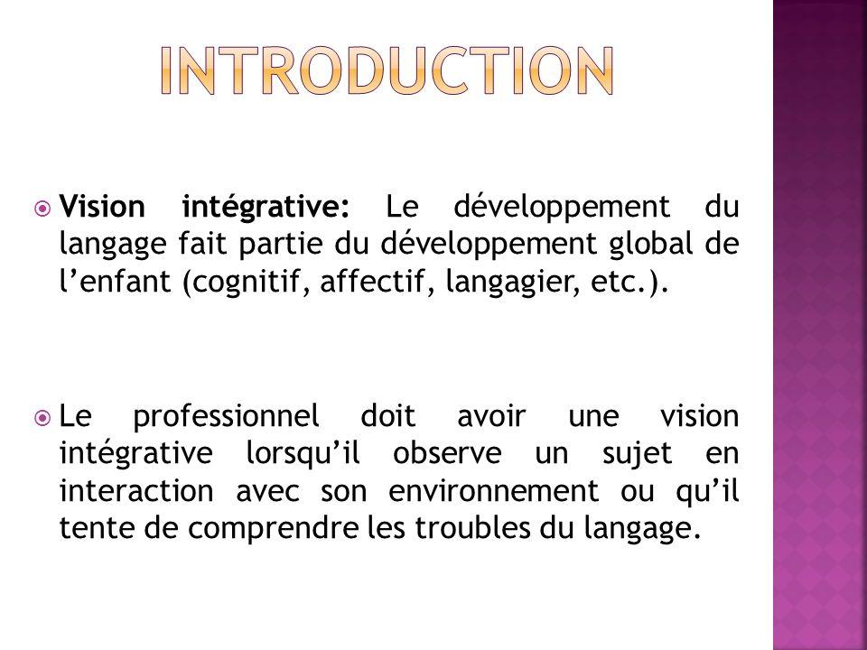 Vision intégrative: Le développement du langage fait partie du développement global de lenfant (cognitif, affectif, langagier, etc.). Le professionnel