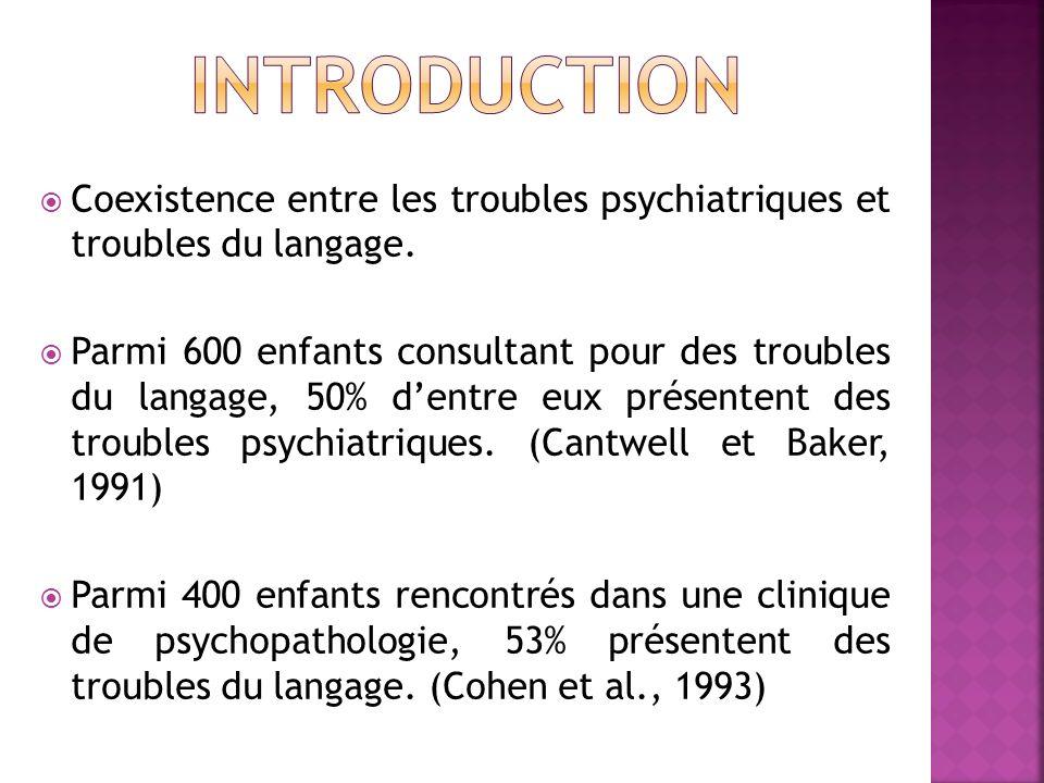 Coexistence entre les troubles psychiatriques et troubles du langage. Parmi 600 enfants consultant pour des troubles du langage, 50% dentre eux présen