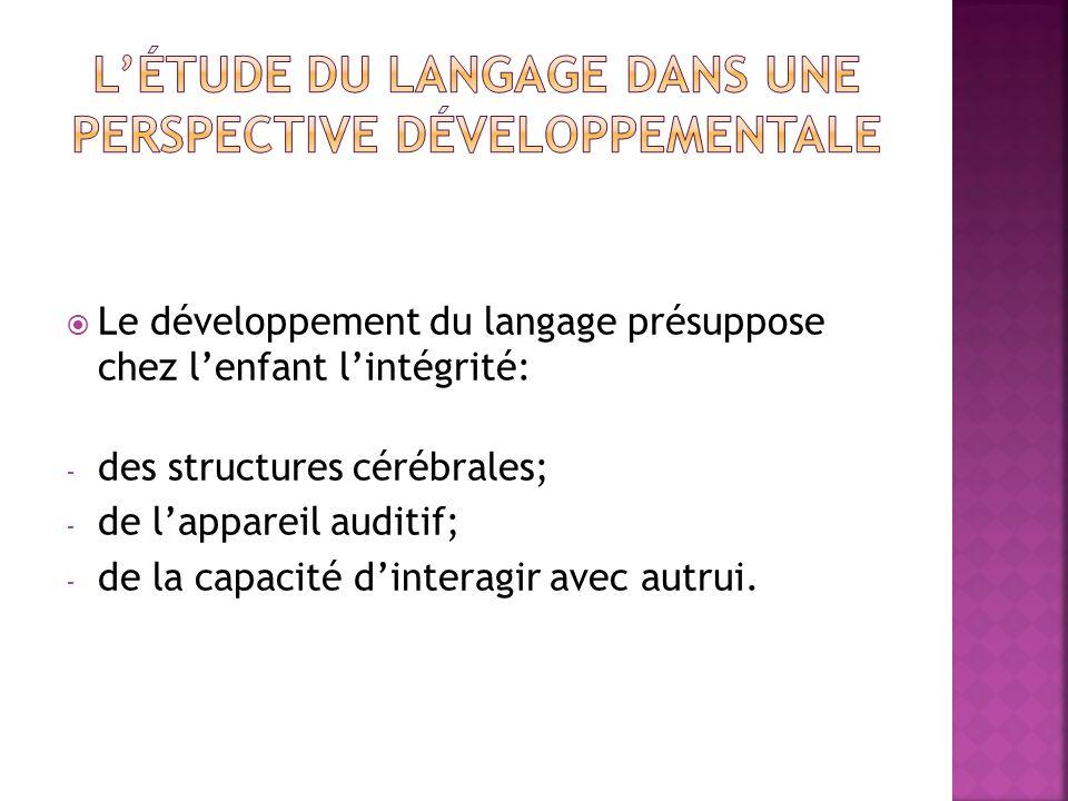 Le développement du langage présuppose chez lenfant lintégrité: - des structures cérébrales; - de lappareil auditif; - de la capacité dinteragir avec