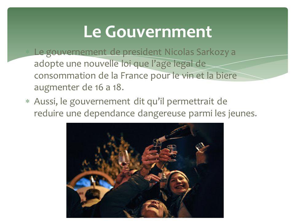 Le gouvernement de president Nicolas Sarkozy a adopte une nouvelle loi que lage legal de consommation de la France pour le vin et la biere augmenter de 16 a 18.