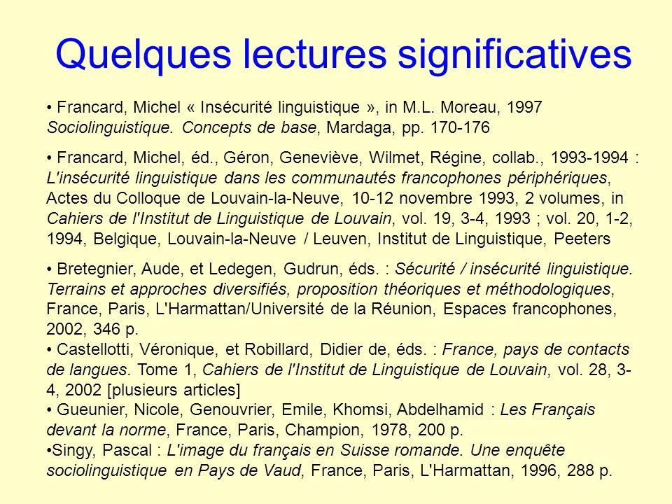 Quelques lectures significatives Francard, Michel « Insécurité linguistique », in M.L.