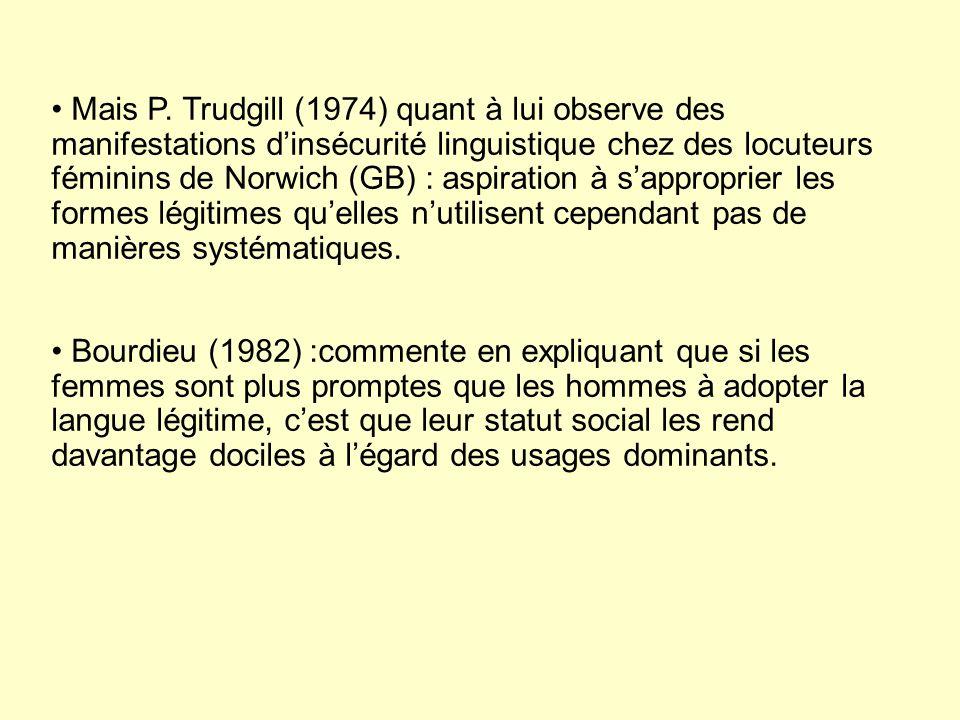 Bourdieu (1982) :commente en expliquant que si les femmes sont plus promptes que les hommes à adopter la langue légitime, cest que leur statut social les rend davantage dociles à légard des usages dominants.