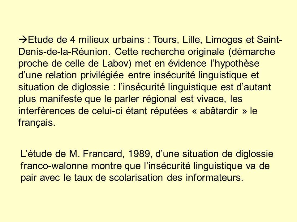 Etude de 4 milieux urbains : Tours, Lille, Limoges et Saint- Denis-de-la-Réunion.