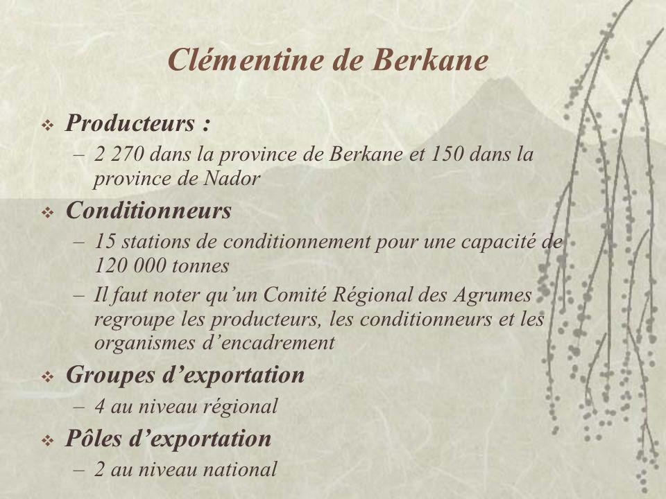Clémentine de Berkane Le marché local absorbe moins de 20% de la production de la clémentine sans pépins Le marché à lexport se situe chaque année entre 70 000 et 85 000 tonnes, dont 55 000 à 70 000 tonnes de clémentines sans pépins Plus de 70% de la production exportée est destinée aux marchés à contrat.