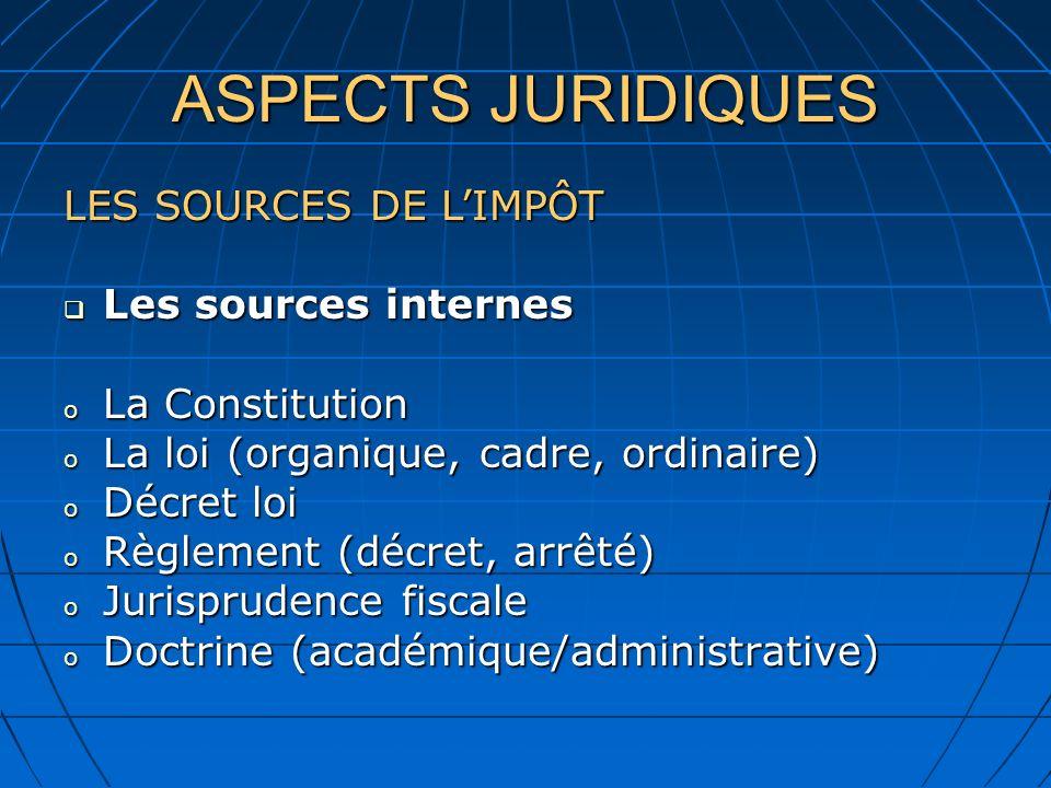 ASPECTS JURIDIQUES LES SOURCES DE LIMPÔT Les sources internes Les sources internes o La Constitution o La loi (organique, cadre, ordinaire) o Décret l