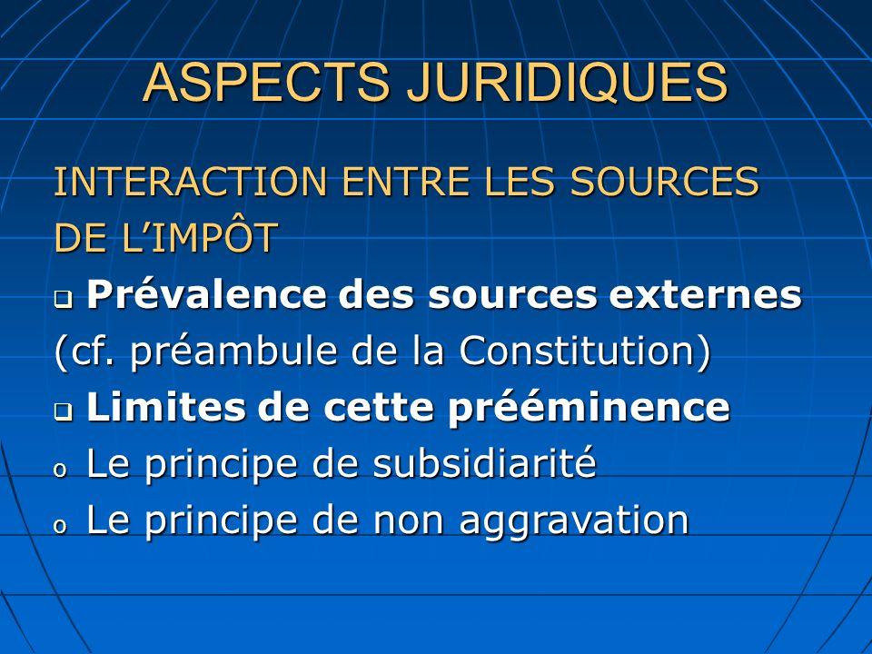 ASPECTS JURIDIQUES INTERACTION ENTRE LES SOURCES DE LIMPÔT Prévalence des sources externes Prévalence des sources externes (cf. préambule de la Consti