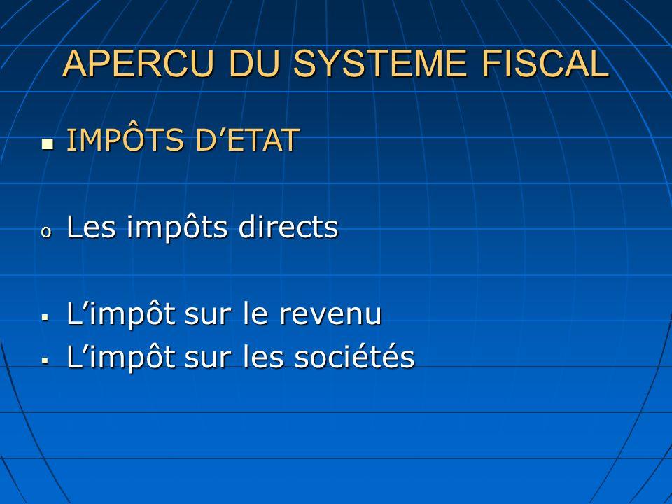 APERCU DU SYSTEME FISCAL IMPÔTS DETAT IMPÔTS DETAT o Les impôts directs Limpôt sur le revenu Limpôt sur le revenu Limpôt sur les sociétés Limpôt sur l