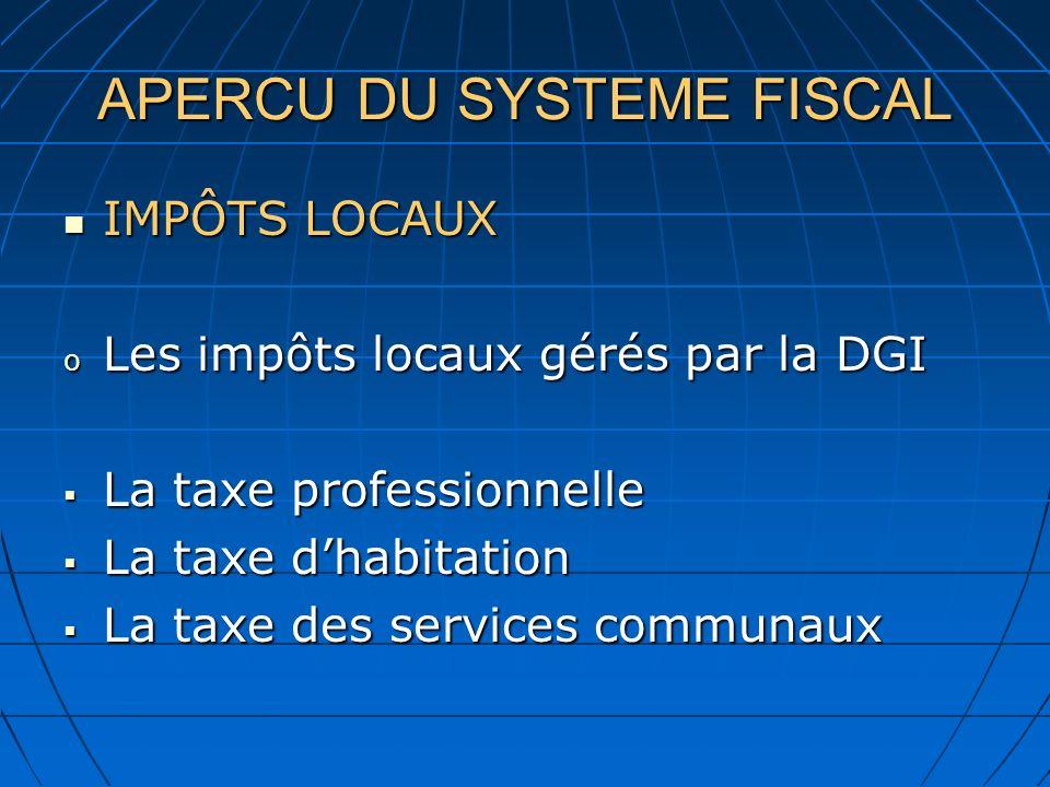 APERCU DU SYSTEME FISCAL IMPÔTS LOCAUX IMPÔTS LOCAUX o Les impôts locaux gérés par la DGI La taxe professionnelle La taxe professionnelle La taxe dhab