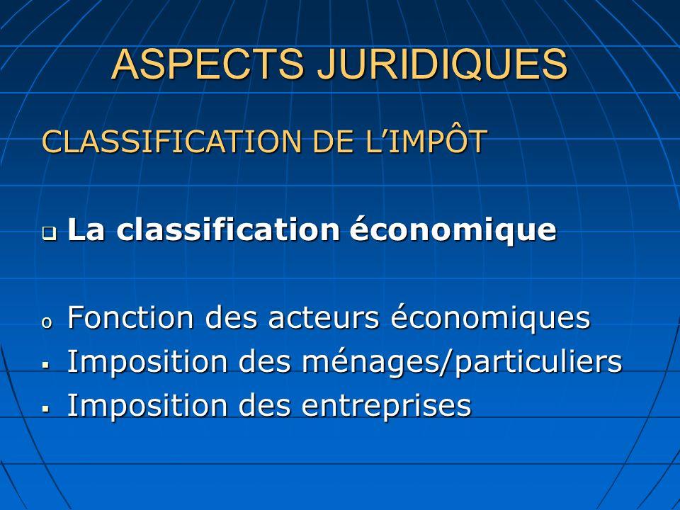 ASPECTS JURIDIQUES CLASSIFICATION DE LIMPÔT La classification économique La classification économique o Fonction des acteurs économiques Imposition de