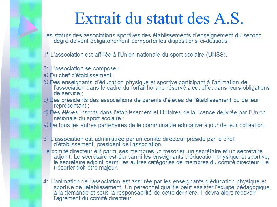 Extrait du statut des A.S. Les statuts des associations sportives des établissements d'enseignement du second degré doivent obligatoirement comporter