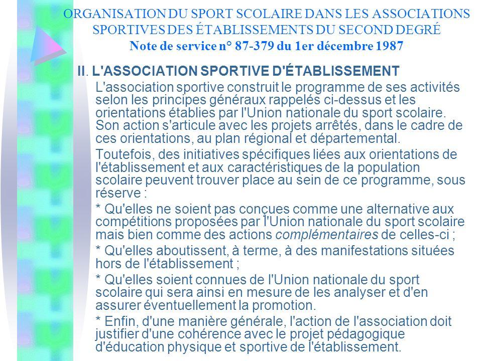 ORGANISATION DU SPORT SCOLAIRE DANS LES ASSOCIATIONS SPORTIVES DES ÉTABLISSEMENTS DU SECOND DEGRÉ Note de service n° 87-379 du 1er décembre 1987 II. L