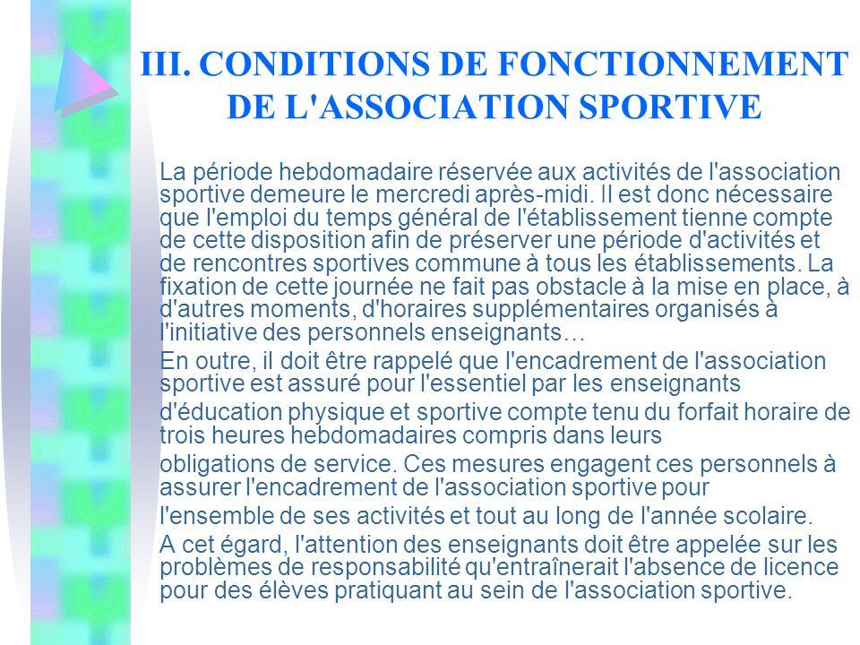 III. CONDITIONS DE FONCTIONNEMENT DE L'ASSOCIATION SPORTIVE La période hebdomadaire réservée aux activités de l'association sportive demeure le mercre