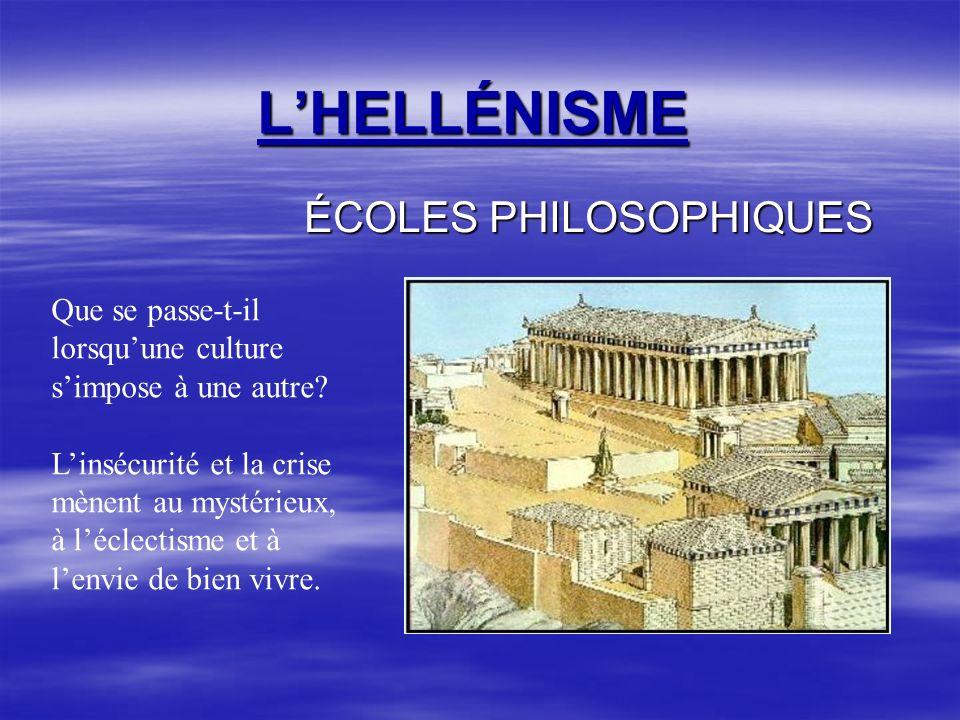 LHELLÉNISME ÉCOLES PHILOSOPHIQUES Que se passe-t-il lorsquune culture simpose à une autre.