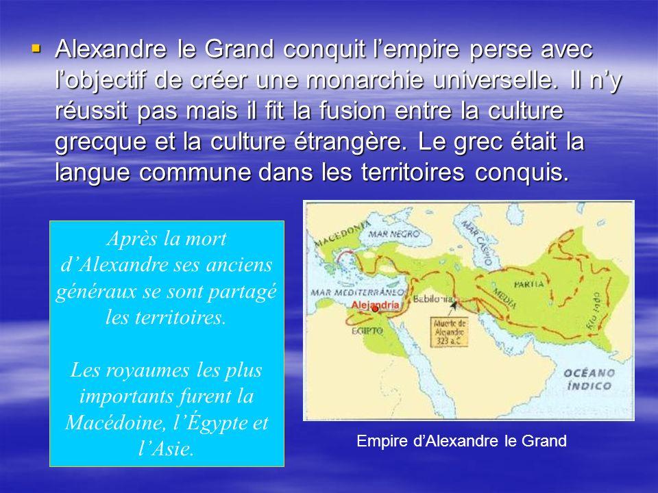 Alexandre le Grand conquit lempire perse avec lobjectif de créer une monarchie universelle.