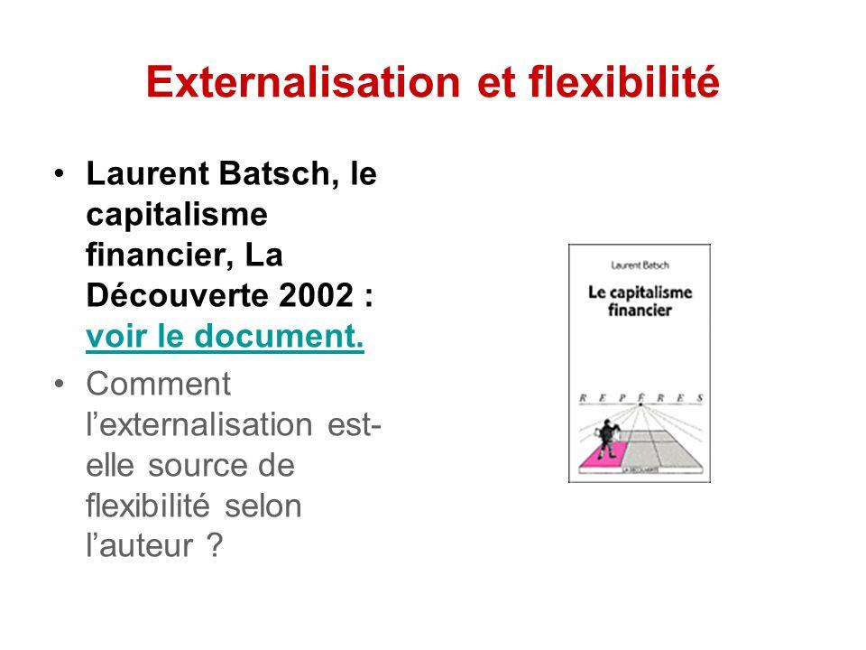 Externalisation et flexibilité Laurent Batsch, le capitalisme financier, La Découverte 2002 : voir le document.